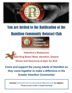 Rotaract Dinner for Rotary Club of Hamilton